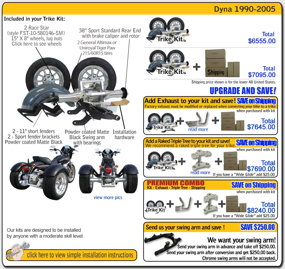 Frankenstein Trike kit for harley davidson Dyna contents and pricing