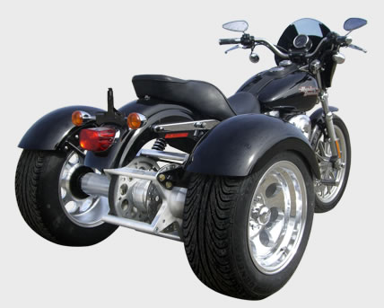 harley Davidson Dyna with Frankenstein Trike Conversion Kit installed on a Dyna